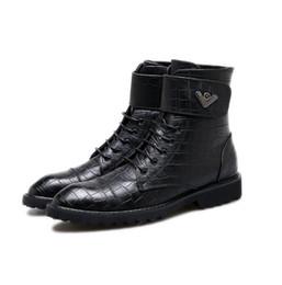 Wholesale High Fashion Dress Men Boots - Fashion Trending Crocodile Patent Leather Men Martin Boots Mens Winter Ankle Boots Casual High top Men dress Shoes