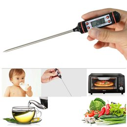 Wholesale Thermocouple Food Probe - LCD Digital Cooking Food Meat Probe Thermometer,with Strap & Plastic Tube and One 1.5V LR44 Battery Powered, kitchen BBQ+Free Shipping