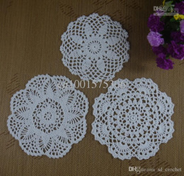 Wholesale Free Doily Patterns - Free Shipping 30Piece Handmade Crochet pattern doily 3 designs cup Pad mat table cloth coasters round Dial 15-20cm Custom Colors