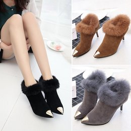 Wholesale Boots Scrub - Fashion Women Shoes High-heeled boots women 2017 winter new pointed fine with rabbit fur cotton wool boots scrub suede waterproof 35-39