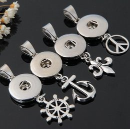 Wholesale Wholesale Peace Jewelry - New Anchor Peace Noosa Ginger Snap Button Pendant Noosa DIY Jewelry Snap Button Necklace Interchangeable Pendant