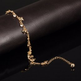 Wholesale Gold Heart Anklets - Romantic Heart Design Woman Jewelry Anklets Luxury Gold Color Cubic Zirconia Women Ankle Bracelet pulseras tobilleras,JM736