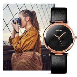 Wholesale Sinobi Stainless Steel Black - SINOBI new fashion simple ladies watch leather strap top luxury brand ladies dress quartz clock ladies watch Montres Femmes