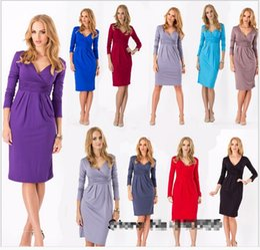 Wholesale Office Wear Long Sleeves Dress - Free shipping 2015 HOT Fashion Women short dress Wrap Pencil Bodycon Office formal dressSlim short party Dresses
