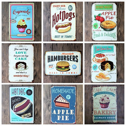 Wholesale Alloy Wall Art - Retro Tin Sign Ice Cream Metal Painting For Home Hotel Bar Decor Wall Art Craft Many Styles 4 99lj C