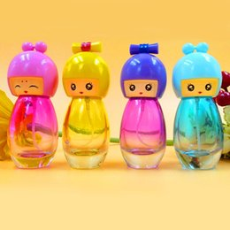 Wholesale Dolls Glasses - 20ml Cute Doll Head Perfume Bottle Glass Pump Perfume Atomizer Travel Empty Spray Scent Bottle Refillable Cosmetic Container 10pcs lot DC361