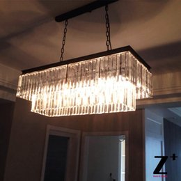 Wholesale Chandeliers Clear Black - Replica item industrial length 125cm 1920S ODEON CLEAR GLASS FRINGE RECTANGULAR CHANDELIER vintage k9 lustre crystal