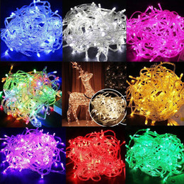 Wholesale Pink Party Decor - Christmas Lights 20M 30M 50M 100M 600 LED String Fairy Lights Xmas Decor lights Red Blue Green Colorful Party Wedding Twinkle light