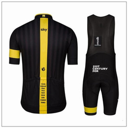 Wholesale Bicycle Skinsuit - customiz Sky Cycling Jersey Set Short Sleeve With Cool Max Padded Bib Pants Polyester Elastic Bicycle Wear Anti Pilling Skinsuit For Men