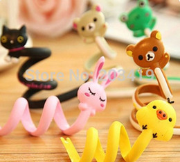 Wholesale Earphone Winder Cable Tidy - 6pcs lot mixed Cute cartoon animal wrap cable wire clip tidy earphone winder Organizer holder moblie cell phone MP3, MP4 whcn+