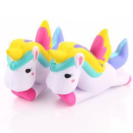 Wholesale Fun Pranks - PU Foam Simulation Flying Unicorn Pony Horse Kawaii Squishy Toys Slow Rising Squeeze Doll Fun Jokes Props Pranks Maker Gift Cell Phone Strap