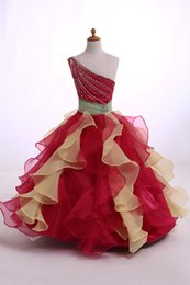 Wholesale Two Toned Pageant Dresses - Organza pageant dresses For Girl One-Shoulder Ball Gown Ruffled Two Tone Color Skirt Floor-Length With Beads Sequins Girl Dress zahy997