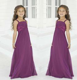 Vestidos de verano morados para juniors online-Vestidos baratos para niñas de flores para bodas 2016 de verano de gasa púrpura vestidos de dama de honor por encargo 2016 comunión niños ropa formal Nuevo