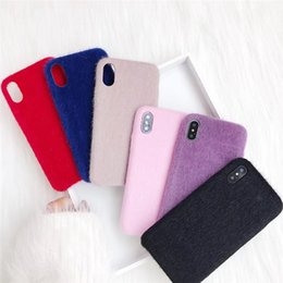 Wholesale Iphone Winter Cover - Winter Warm Plush Phone Case For iPhone 8 Plus Candy Color Fur TPU Silicone Cover Cases For iPhone X 8 7 6 6S Plus Free Shipping