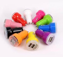 Wholesale Smart Lighters - 5V 2A For iPhone 6s 6s plus USB Dual Car Charger Input 12-24VDC Output Colorful Mini cigarette lighter Universal Smart Car Battery Charg