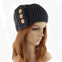 Wholesale Crochet Hat Buttons - Big discount 1000pcs Women Bohemia Beanie woolen yarn Knitted cap Warm Winter Baggy Crochet Caps Three buttons headgear By DHL
