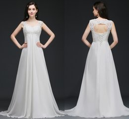 Wholesale Empire Beach Wedding Gown - 2018 New Romantic Beach A-line Wedding Dresses Cheap Maternity Cap Sleeve Keyhole Lace Up Backless Chiffon Summer Pregnant Bridal Gowns