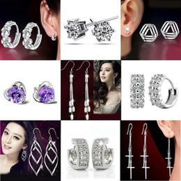 Wholesale Crystal Chandelier For Sale - Silver Stud Earrings Hot Sale Crystal Flower Drop Dangle Earring for Women Girl Party Jewelry Retail Free Shipping - 0203WH