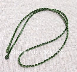 "Wholesale Green Silk Cord Necklace - Free ship 100pcs lot 2mm dark green 18"" Silk Cord Twist Thread Necklace Fit European Charms Pandent"