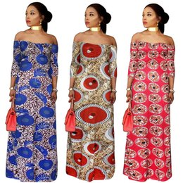 Wholesale Bohemian Clothes - African women Clothing plus size print long dresses maxi dress Africaine off shoulder summer vetsidos robe de soiree 2018