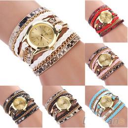 Wholesale Wholesale Leopard Watches - Fashion Retro Women Leopard Watches Braided Wrap Quartz Wristwatch Faux Leather Bracelets Charming Weave Wrist Watch for Lady Girls Gifts