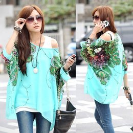 Wholesale B16 Sleeves - Hot womens tops fashion 2014 Bohemian Style Batwing Sleeve Chiffon Shirts Tops Oversized Blouses plus size clothing B16 CB018373