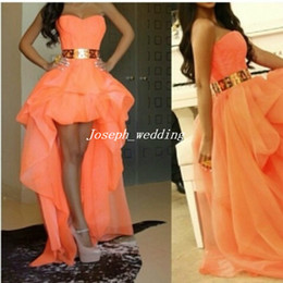 Wholesale Gold Peach Prom Dress - Free Shipping Sexy High Low Dress Gold Belt Fashion Sweetheart Pretty Girls Dress Prom Gown Peach Color Prom Dresses 2017 WH502