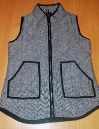 Wholesale Designer V Neck - 2015 Standing colla Women's cotton Herringbone Vest Designer Inspired black Herringbone vest, Quilted Cotton Puffer Vest Size S-XL