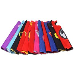 Wholesale Super Hero Clothes - Superhero Kids Capes Double layers 70*70 cm Satin Cape Christmas Halloween Costumes Cosplay Clothing Cosplay Capes Prop party Costumes