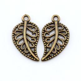 Wholesale Wholesale Bronze Filigree - Hot ! 200Pcs Antique Bronze Alloy Filigree Leaves Charm Pendants 10.5 x 19 mm DIY Jewelry