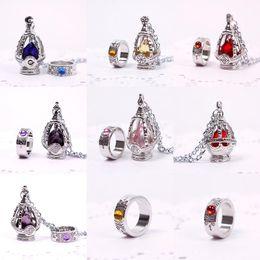 Wholesale Madoka Soul Gem - Wholesale-New Fashion Puella Magi Madoka Magica Soul Gem Necklace + Ring Cosplay Set Jewelry Sets Wedding Accessories 5 Colors #53124