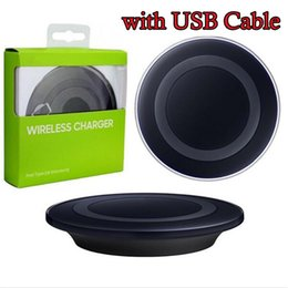 Wholesale Usb Device Chargers - Galaxy S6 Qi Wireless Charger Transmitter Fast Charging Pad For Qi-abled Device Samsung Galaxy S6 S7 Edge with USB Cable in Retail Package