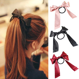 Wholesale Ribbon Holders - Lackingone 1X Women Tiara Satin Ribbon Bow Hair Band Rope Scrunchie Ponytail Holder 8 Color Hot