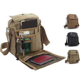Wholesale Messenger Bag Men Military - Mens Canvas Leather Satchel School Military Shoulder Bag Messenger Bag 3 colors good quality new 0101004