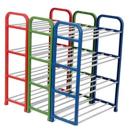 Wholesale Shoes Hanger Diy - New DIY 4 Tier steel Alloy storage shoes racks hanger Anti-corrosive steel tube plastic shoes holder Easy installation stand for shoes DHL