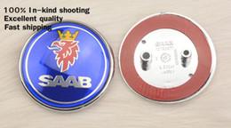 Wholesale 95 Cars - 68mm SAAB logo car front hood bonnet emblem rear badge sticker 93 95 3pins   2 pins Auto emblem accessories Free shipping