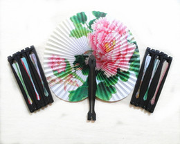 Wholesale Paper Advertising - Wedding Fans Small Hand Fans Advertising and Promotional Folding Fans Paper Fans Retro Bun Paper Deco Fans Wedding Tourism Guest Gift