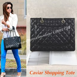 Wholesale Large Leather Shopping Tote - 2018 Women's Genuine Leather Handbags 34CM Black Caviar GST Shopping Tote 50995 Fashion Female Large Shoulder Bags