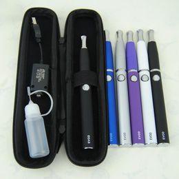 Wholesale Ecigarette Cases - Ecigarette eGo Starter Kits e cigs 650 900 1100 mah evod battery eGo-D vaporizer dry herb wax dual coil Clearomizer zipper case kit