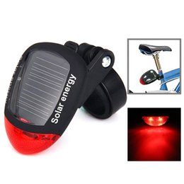 Wholesale Solar Led Wheel Lights - 4 Flash Mode Available Solar Energy Rechargeable Bicycle Tail Light with 2 Red LED Free Shipping B069