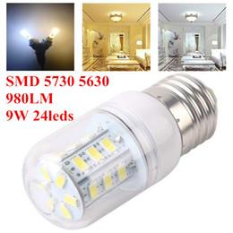 Wholesale E14 Warm Lumen - E27 GU10 LED Bulbs Corn Bulb 9W 980 Lumen Cree SMD 5730 5630 With Cover 24leds E14 B22 G9 Home Led light Warm Cool Pure White 10pcs