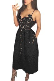 Wholesale Ladies Party Dresses Cheap - Ladies Sexy Autumn Summer Dress For Women 2017 Cheap Clothes China Black Lace Hollow Out Nude Illusion Sexy A Line Party Dresses V616360