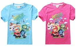 Wholesale Clothing Inside - movie inside out t shirt for kids Boy Girl Blue Rose Short Sleeve inside out t shirts Children Top Tees Cartoon Summer Clothing in stock