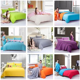 Wholesale Quilt Patchwork Set - Wholesale-Fashion Fastcolours Solid Color AB Side Full Queen Twin Bedding Sets Patchwork Quilt cover Bedcover Pillowcase For 1.2m-1.8m Bed