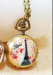 Wholesale Watch Eiffel Tower Design - Vintage bronze Fashion quartz design Paris Eiffel Tower pattern enamel woman pendant Necklace chain pocket watch