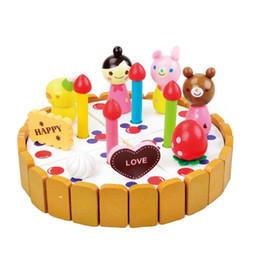 Wholesale Wooden Toy Cakes - Wholesale-mother garden baby boy kid's playhouse birthday cake wooden kitchen toys set