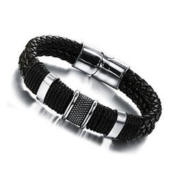 Wholesale Leather Indian Bracelets For Men - Fashion Wide Mens Weave Chain Wristband Stainless Steel Leather Bracelet For Men Classic Bracelets Bangle Jewelry