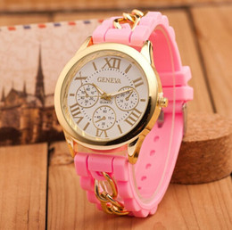 Wholesale Geneva Watches Silicone Band - Fashion Geneva Silicone Band Gold Alloy Chain Women Casual Watch men Quartz Wristwatch ladies women Jelly watch hours hot