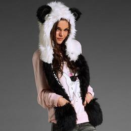 Wholesale Glove Scarf Ear Warmer Set - Wholesale-Funny Cute Cartoon Panda Hats Scarf Glove Set Warm Winter Faux Fur Women Plush Cap Ear Hood Scarf Set
