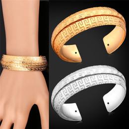 gold armband armband muster Rabatt Unisex G Muster Armreifen Frauen Männer Vintage-Schmuck Geschenk Platin / 18K Gold Plated Antique Manschette Armband